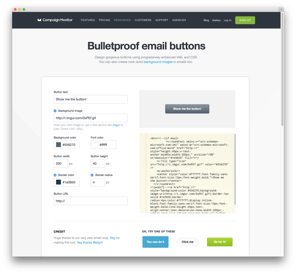 Bulletproof email buttons from Campaign Monitor